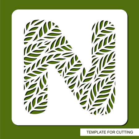 Stencil with the letter N made from leaves. Eco sign, icon, logo for organic, natural products. Plants theme. Template for plotter laser cutting of paper, cardboard, plastic, cnc. Vector illustration. 矢量图像