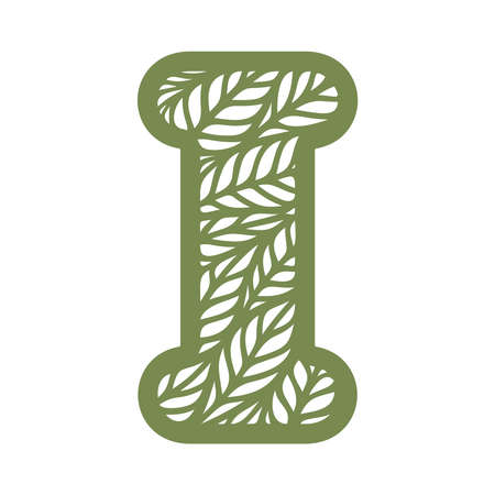 Letter I with a pattern of leaves. Green object on a white background. Plants theme. Openwork botanical logo, sign, icon for natural, eco products. Summer or spring alphabet, font. Vector illustration