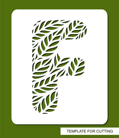 Stencil with the letter F made from leaves. Eco sign, icon organic, natural products. Plant theme.