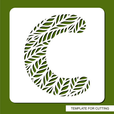 Letter C with a pattern of leaves. Green object on a white background. Plants theme. Openwork botanical logo, sign, icon for natural, eco products. Summer or spring alphabet, font. Vector illustration