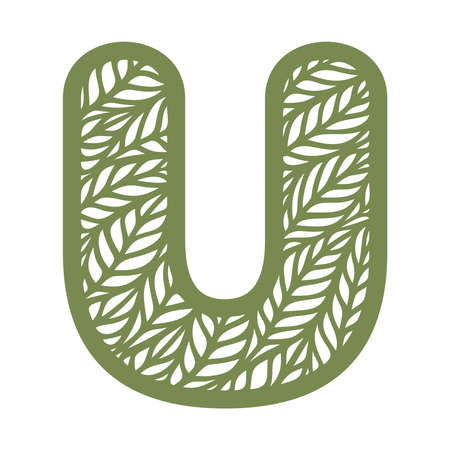 Letter U with a pattern of leaves. Green object on a white background. Plants theme. Openwork botanical logo, sign, icon for natural, eco products. Summer or spring alphabet, font. Vector illustration