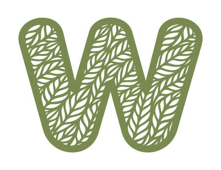 Letter W with a pattern of leaves. Green object on a white background. Plants theme. Openwork botanical logo, sign, icon for natural, eco products. Summer or spring alphabet, font. Vector illustration 矢量图像