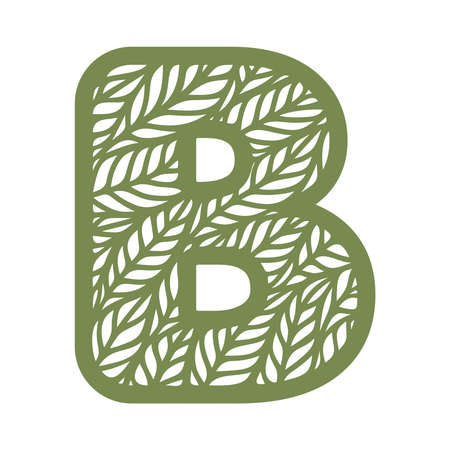 Letter B with a pattern of leaves. Green object on a white background. Plants theme. Openwork botanical logo, sign, icon for natural, eco products. Summer or spring alphabet, font. Vector illustration
