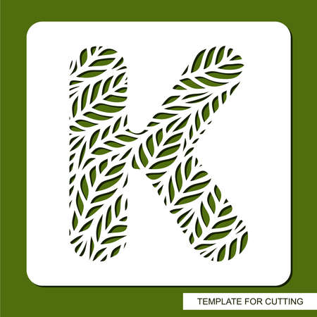 Stencil with the letter K made from leaves. Eco sign, icon, logo for organic, natural products. Plants theme. Template for plotter laser cutting of paper, cardboard, plastic, cnc. Vector illustration. 矢量图像