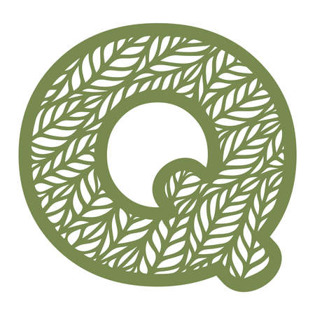 Letter Q with a pattern of leaves. Green object on a white background. Plants theme. Openwork botanical logo, sign, icon for natural, eco products. Summer or spring alphabet, font. Vector illustration