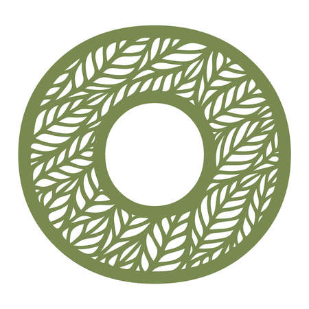 Letter O with a pattern of leaves. Green object on a white background. Plants theme. Openwork botanical logo, sign, icon for natural, eco products. Summer or spring alphabet, font. Vector illustration