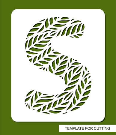 Stencil with the letter S made from leaves.