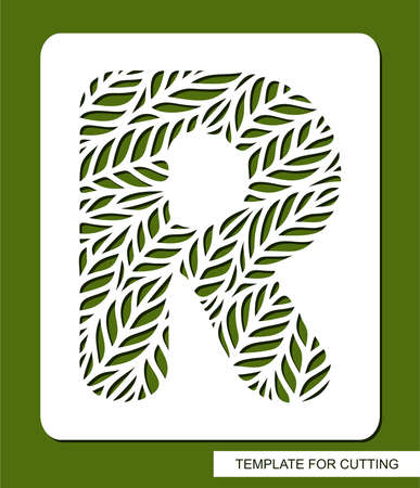 Stencil with the letter R made from leaves. 矢量图像