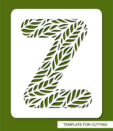 Stencil with the letter Z made from leaves. Eco sign, icon for organic, natural products. Plants theme. Vector illustration.