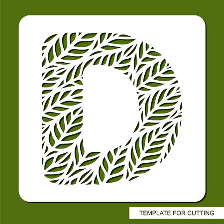 Stencil with the letter D made from leaves. Eco sign, icon organic, natural products. Plant theme.
