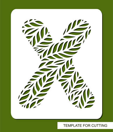 Stencil with the letter X made from leaves. Eco sign, icon for organic, natural products. Plants theme.  Vector illustration.