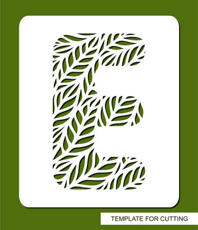 Stencil with the letter E made from leaves. Eco sign, icon organic, natural products. Plant theme. 矢量图像