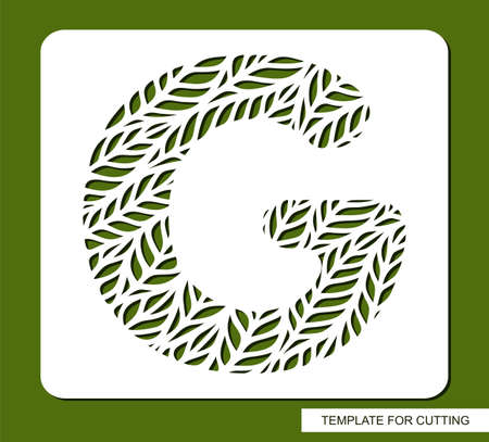Stencil with the letter G made from leaves. Eco sign, icon organic, natural products. Plant theme.