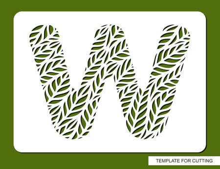 Stencil with the letter W made from leaves. Eco sign, icon for organic, natural products. Plants theme.  Vector illustration.