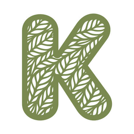Letter K with a pattern of leaves. Green object on a white background. Plants theme. Openwork botanical logo, sign, icon for natural, eco products. Summer or spring alphabet, font. Vector illustration