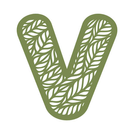 Letter V with a pattern of leaves. Green object on a white background. Plants theme. Openwork botanical logo, sign, icon for natural, eco products. Summer or spring alphabet, font. Vector illustration 矢量图像