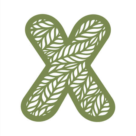 Letter X with a pattern of leaves. Green object on a white background. Plants theme. Openwork botanical logo, sign, icon for natural, eco products. Summer or spring alphabet, font. Vector illustration 矢量图像