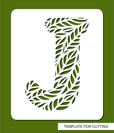 Stencil with the letter J made from leaves. Eco sign, icon, logo for organic, natural products. Plants theme. Template for plotter laser cutting of paper, cardboard, plastic, cnc. Vector illustration.