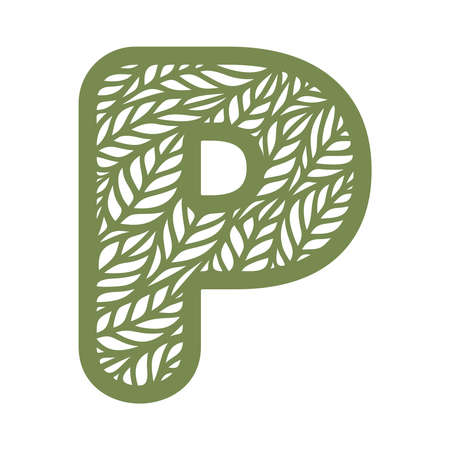 Letter P with a pattern of leaves. Green object on a white background. Plants theme. Openwork botanical logo, sign, icon for natural, eco products. Summer or spring alphabet, font. Vector illustration 矢量图像