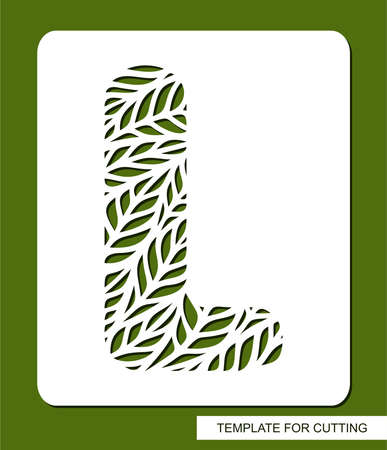 Stencil with the letter L made from leaves. Eco sign, icon, logo for organic, natural products. Plants theme. Template for plotter laser cutting of paper, cardboard, plastic, cnc. Vector illustration.