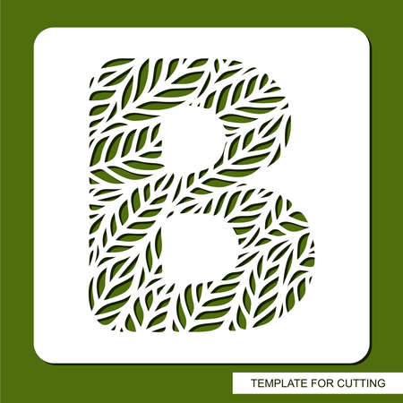 Stencil with the letter B made from leaves.Eco sign, icon organic, natural products. Plant theme. 矢量图像