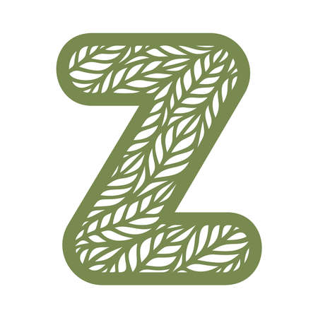 Letter Z with a pattern of leaves. Green object on a white background. Plants theme. Openwork botanical logo, sign, icon for natural, eco products. Summer or spring alphabet, font. Vector illustration