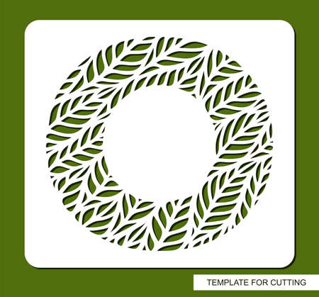 Stencil with the letter O made from leaves. Eco sign, icon, logo for organic, natural products. Plants theme. Template for plotter laser cutting of paper, cardboard, plastic, cnc. Vector illustration.