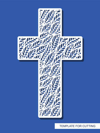 Cross with leaves ornament. Decorative religious element for Easter, Christening. Template for plotter laser cutting (cnc), wood carving, paper cut, metal engraving or printing. Vector illustration.