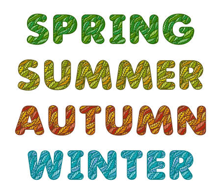 Four words - spring, summer, autumn, winter. Letters on a white background. Font made from multi-colored leaves. Green, orange red and blue inscription of the seasons of the year. Vector illustration.