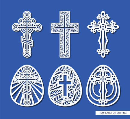 Set of crosses and Easter eggs. Decorative elements of religious themes. Template for plotter laser cutting (cnc), wood carving, paper cut, metal engraving or printing. Vector illustration. 矢量图像