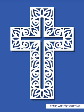 Cross with curly ornament. Decorative religious element for Easter, Christening. Template for plotter laser cutting (cnc), wood carving, paper cut, metal engraving or printing. Vector illustration.