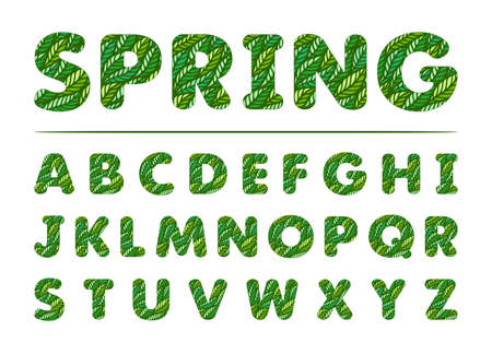 Green font made from fresh leaves. Spring word on white background. English alphabet. The theme of nature, ecology, organics. Vector illustration.