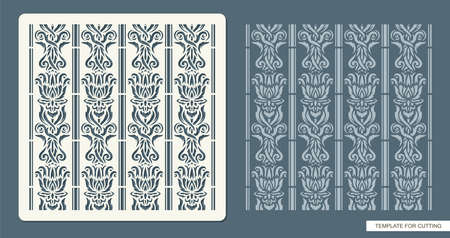 Stencil for drawing a classic pattern. Ornament from decorative leaves, flowers, lines. Seamless texture for decorating walls, surfaces. 矢量图像