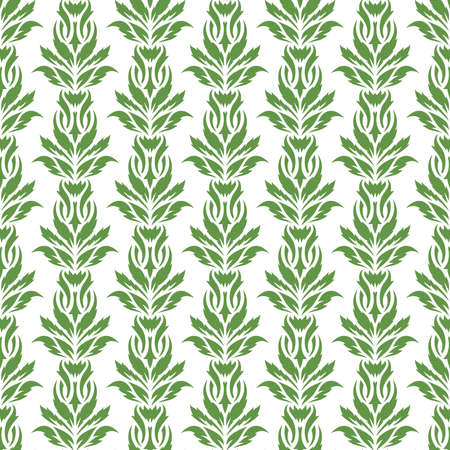 Seamless background with a floral pattern. Green leaves of creepers on a white background. Spring and summer theme. 矢量图像