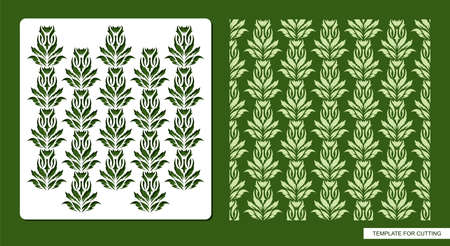 Stencil for drawing patterns from leaves, twigs, lianas. Plants theme. Seamless texture for decorating walls, surfaces.