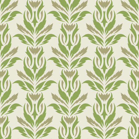 Seamless background with a floral pattern. Green and brown leaves on a beige background. Flat style. Spring and summer theme.