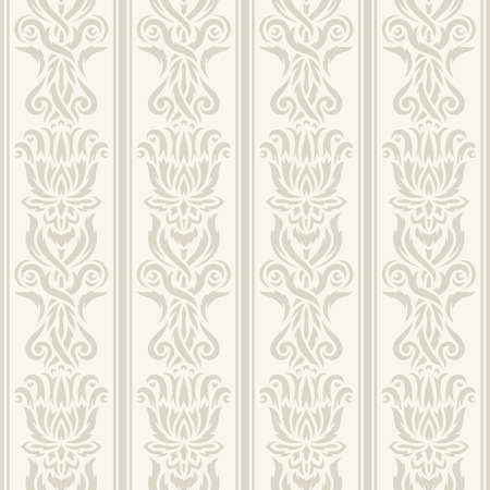 Seamless background with classic pattern. Floral ornament, vertical lines, abstract flowers and leaves. Soft light gray-beige colors.