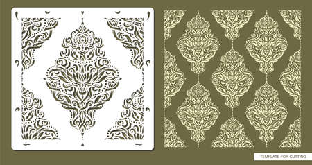 Stencil for drawing a classic pattern. Ornament from decorative leaves, flowers, garlands. Seamless texture for decorating walls, surfaces.