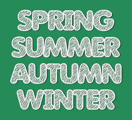 Words Winter, Spring, Summer, Autumn. Decorative carved font with a lace pattern of leaves. White letters on a green background. 矢量图像