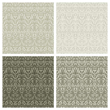 Set of square seamless patterns with classic floral designs. Abstract plants, flowers, leaves, curls. Light gray, brown, beige colors. Endlessly repeating texture for wallpapers, backgrounds, textiles