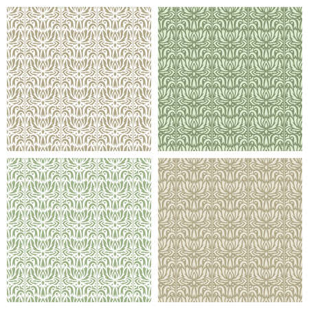 Set of square seamless patterns with classic floral designs. Abstract flowers, leaves, curls, lines. Light brown, gold, beige, green colors. An endlessly repeating texture for wallpapers, backgrounds.