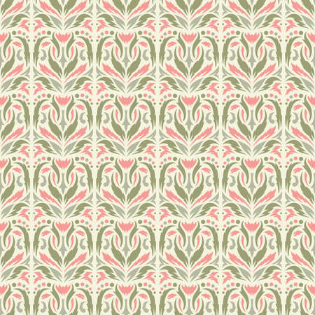 Seamless pattern with floral geometric ornament. Gently pink and green leaves, abstract flowers on a beige background. Vector image.