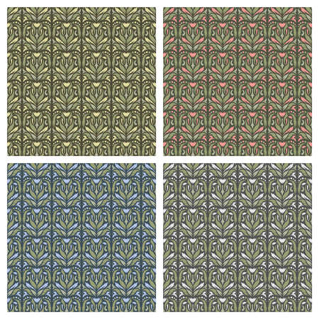 Set of seamless patterns with floral geometric ornament. Pink, blue, gray, yellow flowers, green leaves on a dark background. Repeating texture for fabrics, wallpapers, textiles. Vector illustration.