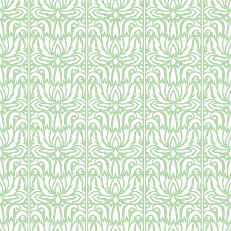 Seamless pattern with floral ornament. Vertical lines, abstract flowers and leaves on white background. Soft light green color. Endlessly repeating texture for fabrics, textiles, wallpaper, web.
