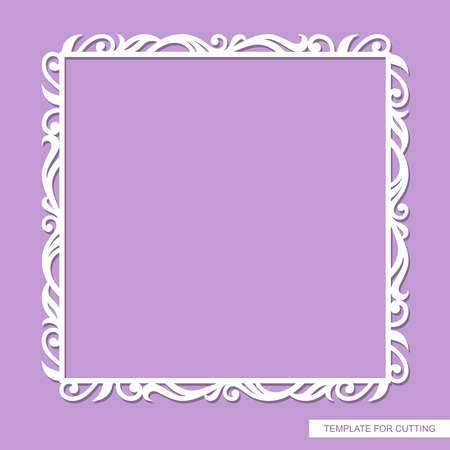 Square frame for photo, painting, text. Elegant floral ornament of leaves and curls. Template for laser plotter cutting of paper, cardboard, wood carving, metal engraving, cnc. Vector illustration.