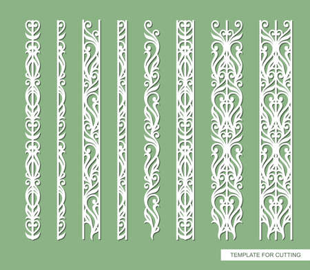 Set of borders with floral ornament. An endlessly repeating pattern of leaves, curls, lines. Plants theme. Vector template for plotter laser cutting, paper, cardboard, plastic, plywood, wood, metal.