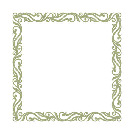 Square frame for photo, painting, text. Elegant floral ornament of leaves and curls. Square blank template for certificate, wedding invitation, birthday. Classic vintage pattern. Vector illustration.