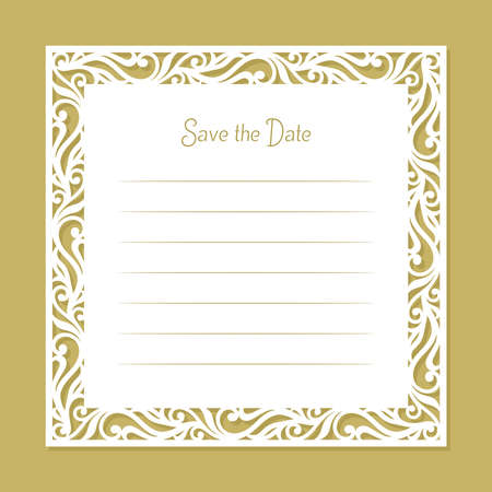 Card with a carved openwork edge. Border with an ornament of curls, leaves. White blank for wedding invitation, birthday, certificate. Copy space, lines for text and inscription Save the date. Vector. 矢量图像