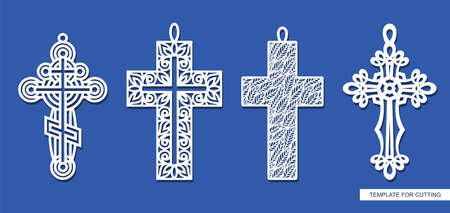 Set of decorative pendant crosses. Openwork ornament of curls, rings, leaf patterns, plant elements. Religious theme. Cute symbol of Easter, Christmas. Vector template for plotter laser cutting, cnc.