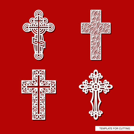 Set of decorative crosses. Openwork ornament of curls, rings, leaf patterns, plant elements. Religious theme. Easter, Christmas symbol.Vector template for plotter laser cutting of paper, metal, wood. 矢量图像
